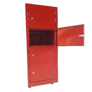 Ambulant Half Height Locker Red 4 Door Open Australian Made