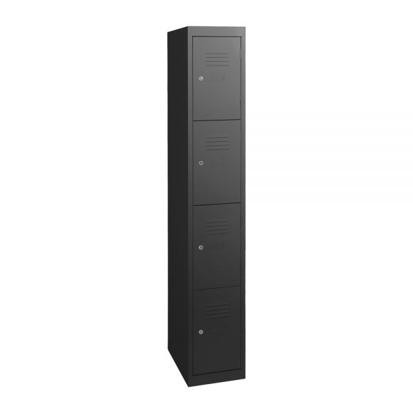 Simple Steel 4 Door Locker Australian Made Black Ripple