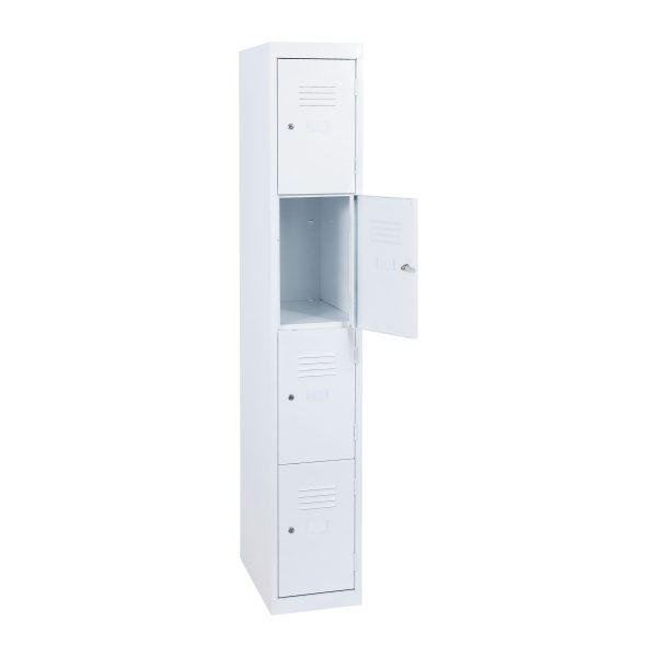 Simple Steel 4 Door Locker Australian Made White Open
