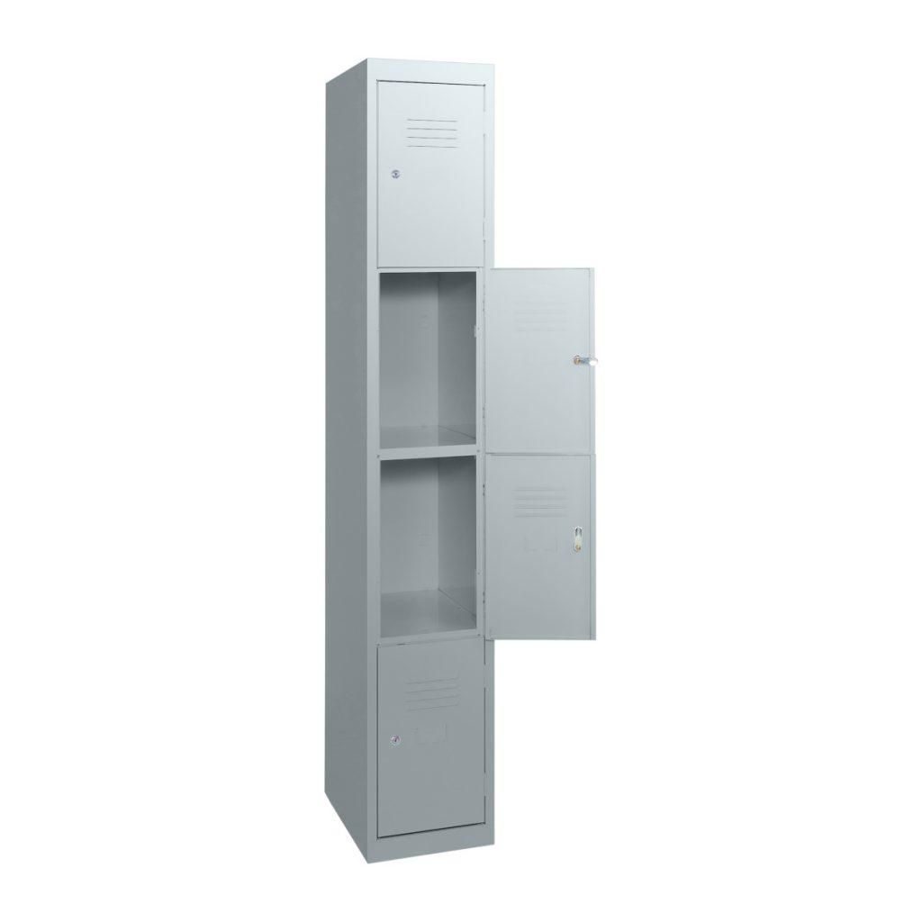 Simple Steel 4 Door Locker Australian Made Light Grey Open