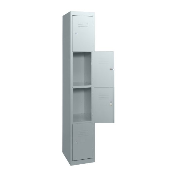 Simple Steel 4 Door Locker Australian Made Light Grey Open