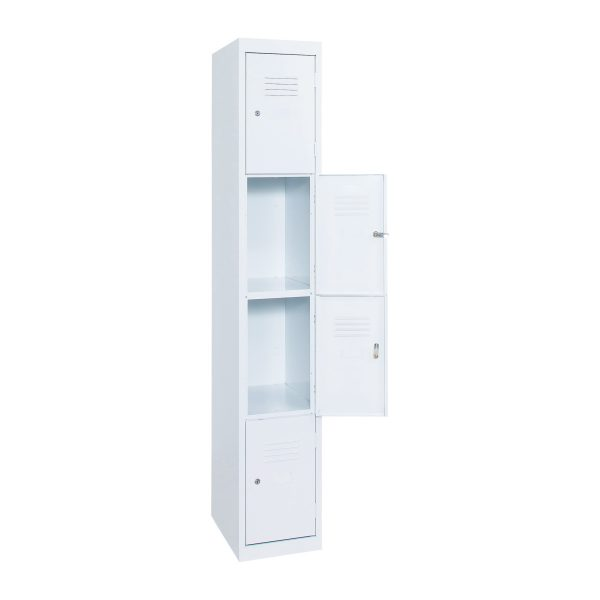 Simple Steel 4 Door Locker Australian Made White Open