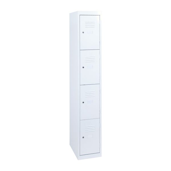 Simple Steel 4 Door Locker Australian Made White