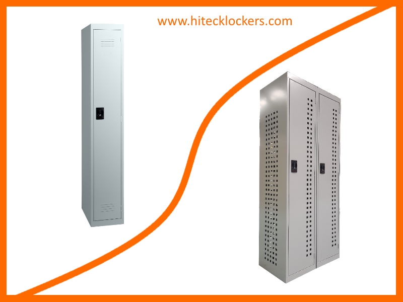single door locker with louvres vs single door locker bank of two with full body and door perforations