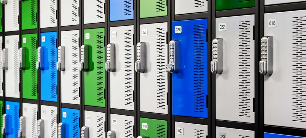 automatic code lockers for gyms blue green white