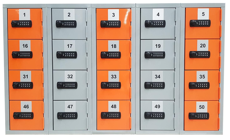 Mini Lockers Orange and Silver with digital locks jpg sml